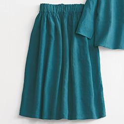 手織りリネンのスカート