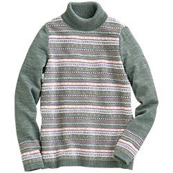 ウール混ジャカード編みセーター