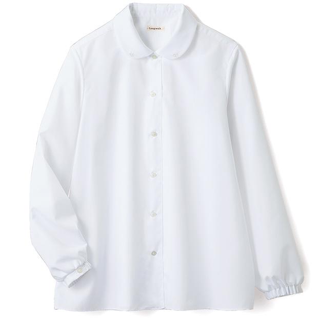 イージーケア丸襟シャツ/オリーブ刺しゅう
