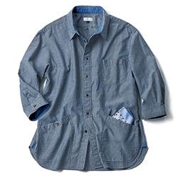 ソフトシャンブレー・七分袖サンデーシャツ