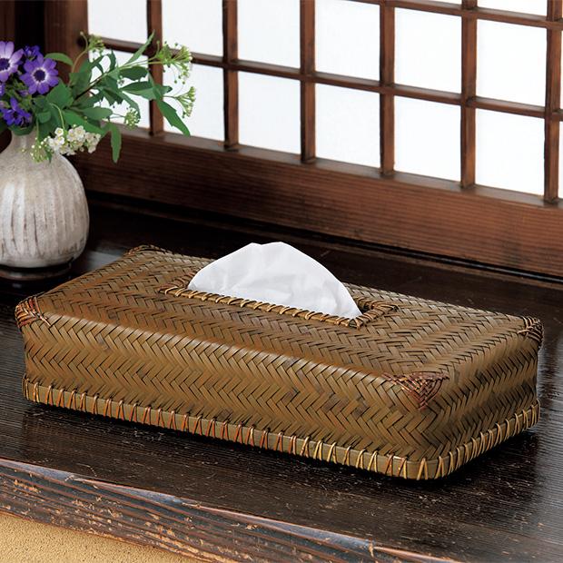 竹と籐のティッシュケース