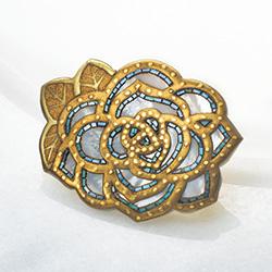 白蝶貝の蒔絵ブローチ/ローズゴールド