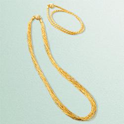 金糸ネックレス&2連ブレスレット
