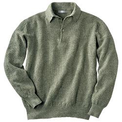 綿麻の長袖ニットポロシャツ