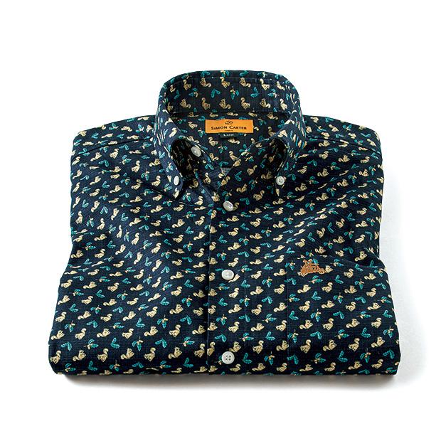 スクワーレルプリント・七分袖シャツ