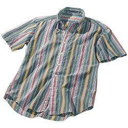 オリジナルマドラスストライプ・半袖シャツ