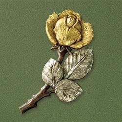 木彫ブローチ「金銀のバラ」