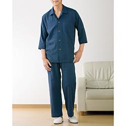 和晒ダブルガーゼの七分袖パジャマ/紳士用