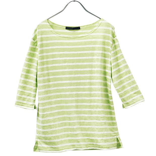 リネン六分袖Tシャツ