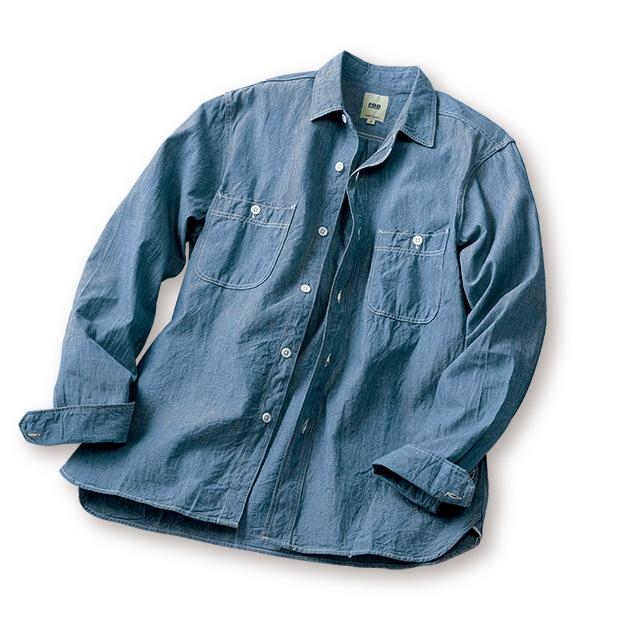 セルビッチシャンブレー・枷染めワークシャツ
