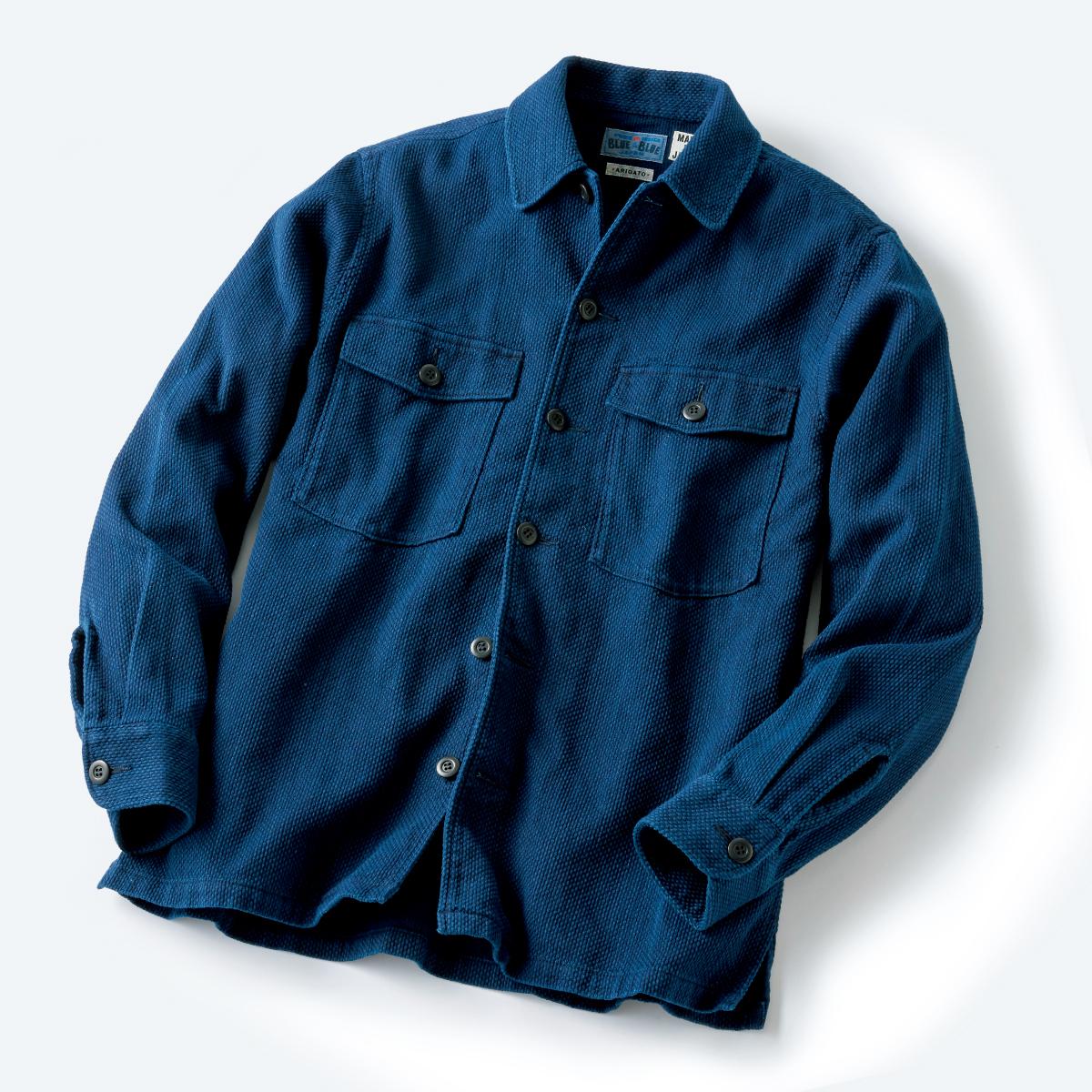かせ染め刺し子織り2ポケットオーバーシャツ