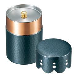 純銅黒銅仕上げ/レース模様の茶筒