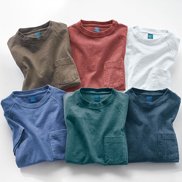 ヘビーウェイト・米綿ラグランポケットTシャツ/2色セット
