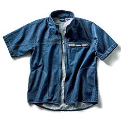ライトデニム半袖フルジップジャケット