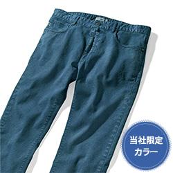 ジャカード織りストレッチスラックス/SKY