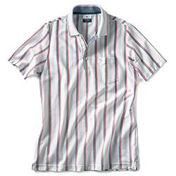 バーズアイストライプ・半袖ポロシャツ