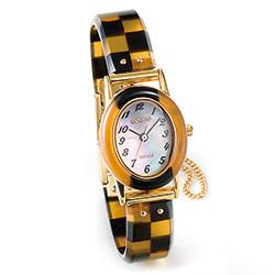 べっ甲の腕時計/市松模様