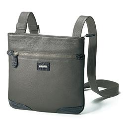 クロコダイルトリミングのレザーショルダ-バッグ