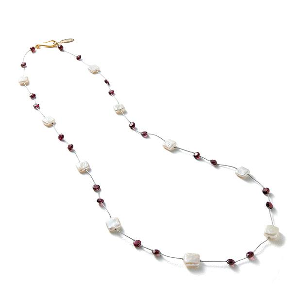パールとガーネットの天然石ネックレス