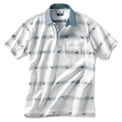 ドッグジャカード半袖ポロシャツ