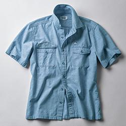 大人のブリーチドダンガリーシャツ/半袖