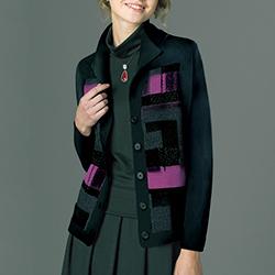 ミックス糸デザインニットジャケット