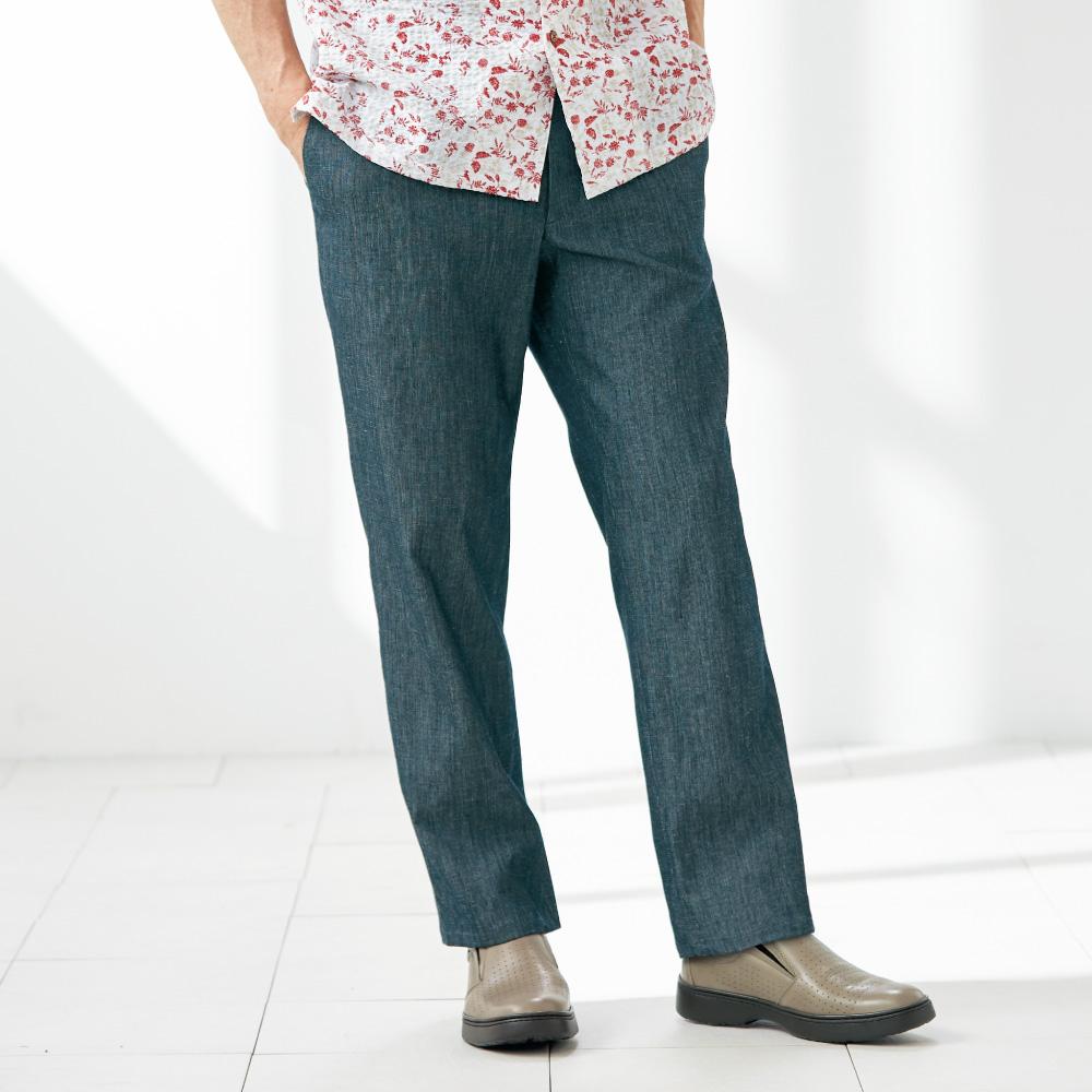 ピケ織りリネン混素材の軽やかイージーパンツ