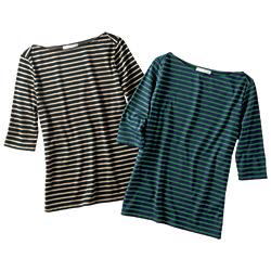 コットンボーダー五分袖Tシャツ