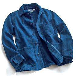 藍染め刺し子織り生地のカバーオール