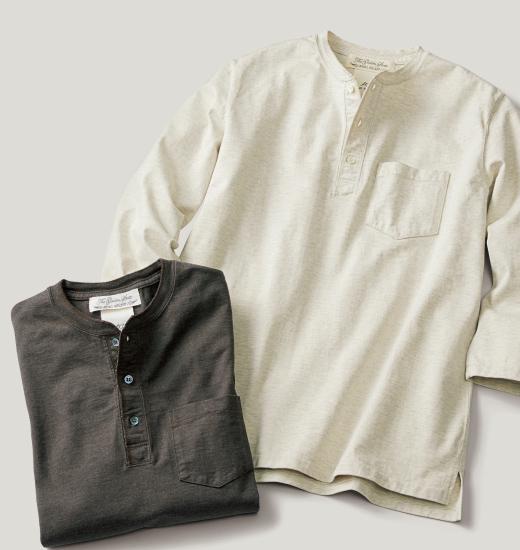 メランジ度詰七分袖ヘンリーネックTシャツ